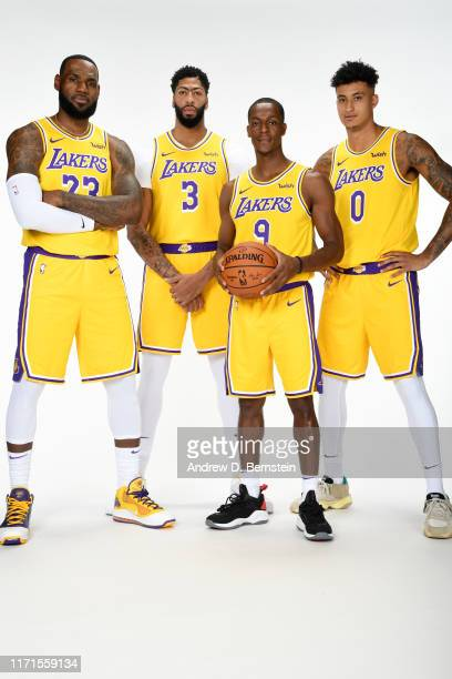 LeBron James Anthony Davis Rajon Rondo and Kyle Kuzma of the Los Angeles Lakers pose for a portrait during media day on September 27 2019 at the UCLA...