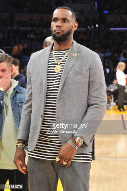LeBron James attends a basketball game between the Los Angeles Lakers and the Utah Jazz at Staples Center on April 07 2019 in Los Angeles California