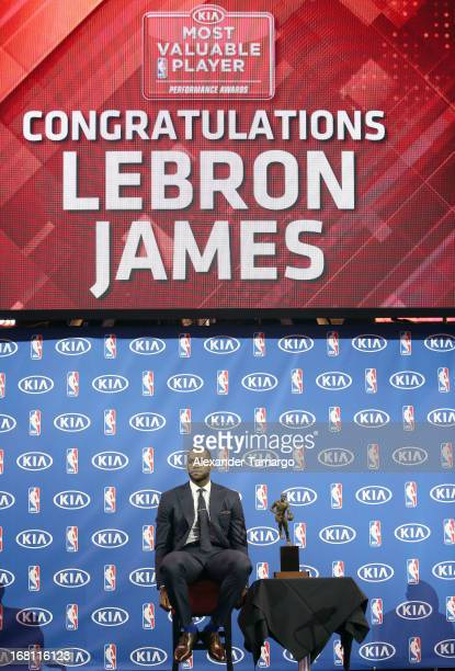 LeBron James attends the LeBron James press confernece to announce his 4th NBA MVP Award at American Airlines Arena on May 5, 2013 in Miami, Florida.