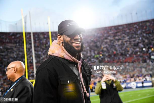 LeBron James attends the NFC Divisional Round playoff game between the Dallas Cowboys and the Los Angeles Rams at Los Angeles Memorial Coliseum on...