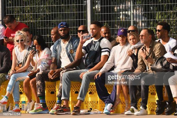 LeBron James Ben Simmons Justin Bieber and Hailey Baldwin attend the John Elliott front row during New York Fashion Week The Shows on September 6...
