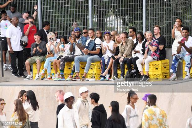 LeBron James Ben Simmons Justin Bieber Hailey Baldwin and Whoopi Goldberg attend the John Elliott front row during New York Fashion Week The Shows on...