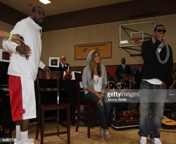 Lebron James Beyonce and JayZ attend the Sprite Green Instrument Donation on February 14 2009 in Mesa Arizona