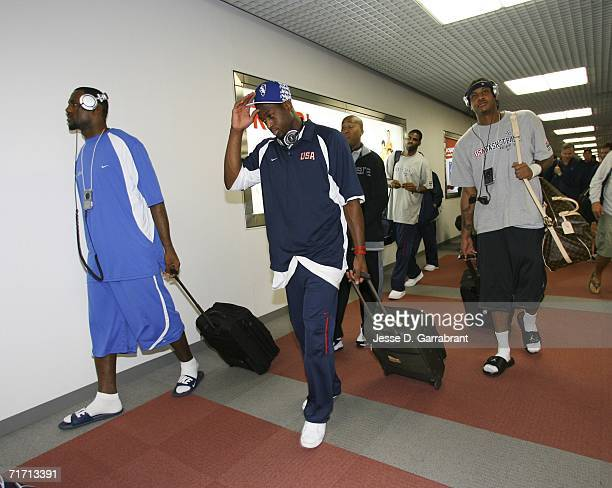 LeBron James Carmelo Anthonyand Dwyane Wade of the USA Basketball Senior Men's National Team arrive in Tokyo for the FIBA World Basketball...