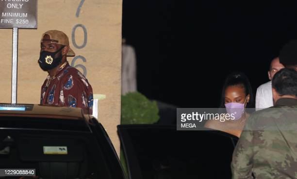 LeBron James celebrates his recent championship win with wife Savannah Brinson at Nobu on October 14, 2020 in Malibu, California. (Photo by...