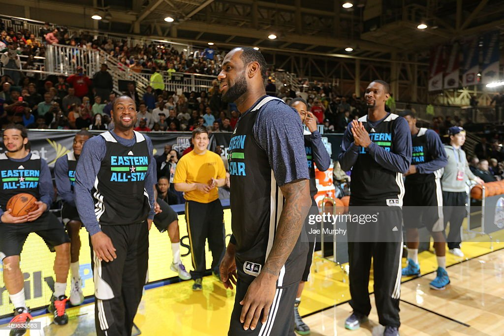 LeBron James #6, Chris Bosh #1 and Dwyane Wade #3 of the Eastern Conference All-Stars talk during the NBA All-Star Practices at Sprint Arena as part of 2014 NBA All-Star Weekend at the Ernest N. Morial Convention Center on February 15, 2014 in New Orleans, Louisiana.