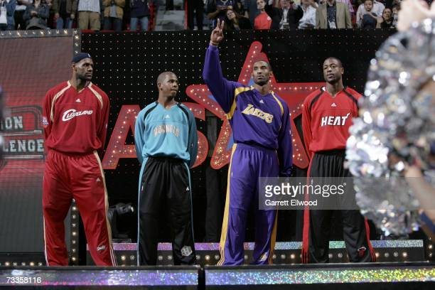 LeBron James, Chris Paul, Kobe Bryant and Dwyane Wade is introduced prior to the PlayStation Skills Challenge at NBA All-Star Weekend on February 17,...