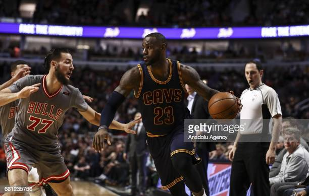 LeBron James Cleveland Cavaliers in action during the NBA match between Chicago Bulls vs Cleveland Cavaliers at the United Center in Chicago Illinois...