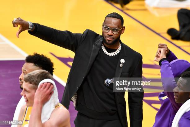 LeBron James does not like a call against his team during a basketball game between the Los Angeles Lakers and the Portland Trail Blazers at Staples...