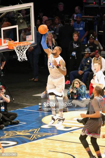 LeBron James dunks during the NBA AllStar Game as part of the 2017 NBA All Star Weekend on February 19 2017 at the Smoothie King Center in New...