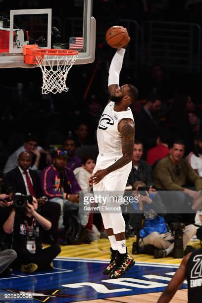 LeBron James dunks the ball during the NBA AllStar Game as a part of 2018 NBA AllStar Weekend at STAPLES Center on February 18 2018 in Los Angeles...
