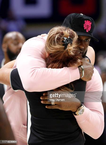 LeBron James greets head coach Nancy Lieberman of Power after the game during the BIG3 Championship at Staples Center on September 01, 2019 in Los...