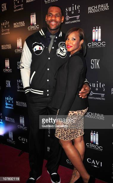 LeBron James his fiancee Savannah Brinson arrive at LeBron James 26th birthday party at Coco de Ville at The Gansevoort on December 30 2010 in Miami...
