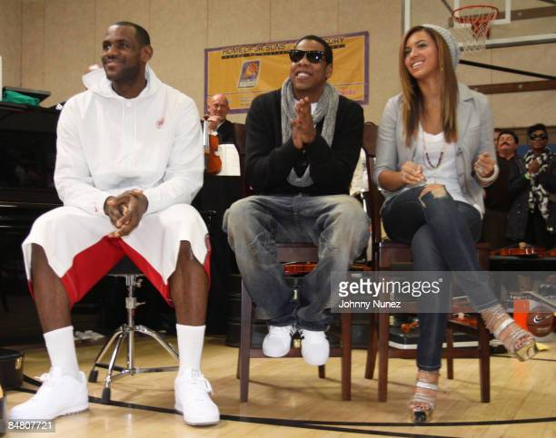 Lebron James JayZ and Beyonce attend the Sprite Green Instrument Donation on February 14 2009 in Mesa Arizona