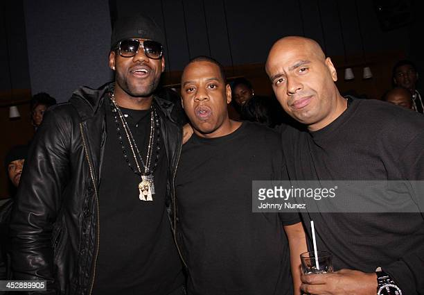 LeBron James JayZ and OG Juan Perez attend JayZ's Official Madison Square Garden Concert After Party at the 40 / 40 Club on March 2 2010 in New York...