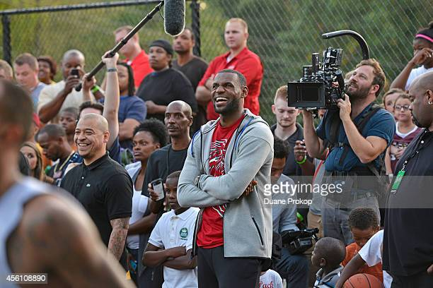 LeBron James joined Sprite to reveal two refurbished outdoor basketball courts with painted artwork by Futura at Patterson Park on September 25 2014...