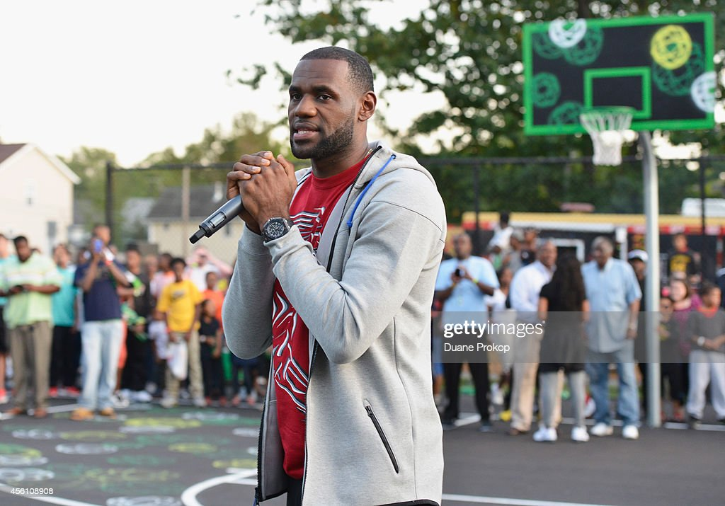 Sprite, LeBron James Unveil Refurbished Basketball Court In Akron : News Photo