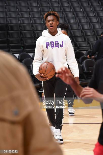 LeBron James Jr dribbles the ball and yells on the court before the LA Clippers game against the Los Angeles Lakers on December 28 2018 at STAPLES...