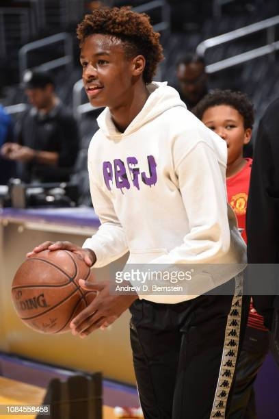 LeBron James Jr dribbles the ball on the court before the LA Clippers game against the Los Angeles Lakers on December 28 2018 at STAPLES Center in...