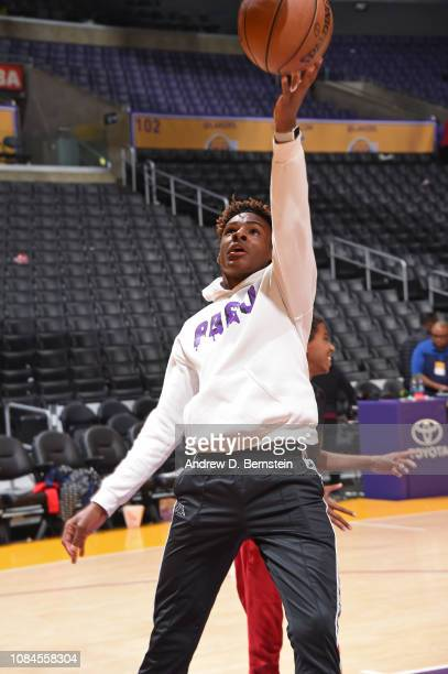 LeBron James Jr drives to the basket on the court before the LA Clippers game against the Los Angeles Lakers on December 28 2018 at STAPLES Center in...