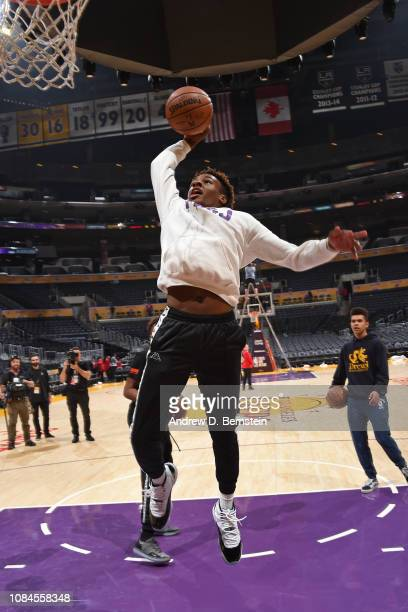 LeBron James Jr dunks the ball on the court before the LA Clippers game against the Los Angeles Lakers on December 28 2018 at STAPLES Center in Los...