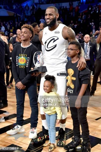 LeBron James Jr LeBron James Zhuri James and Bryce Maximus James attend the 67th NBA AllStar Game Team LeBron Vs Team Stephen at Staples Center on...