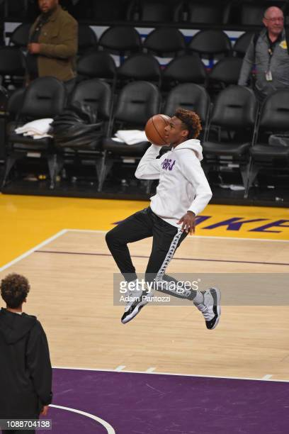 LeBron James Jr shoots around after a game between the LA Clippers and the Los Angeles Lakers on December 28 2018 at STAPLES Center in Los Angeles...