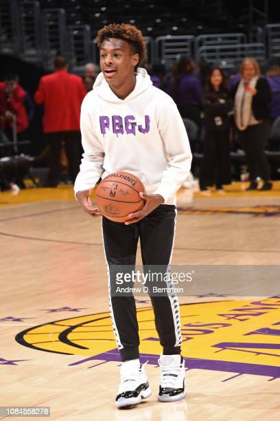 LeBron James Jr smiles on the court before the LA Clippers game against the Los Angeles Lakers on December 28 2018 at STAPLES Center in Los Angeles...
