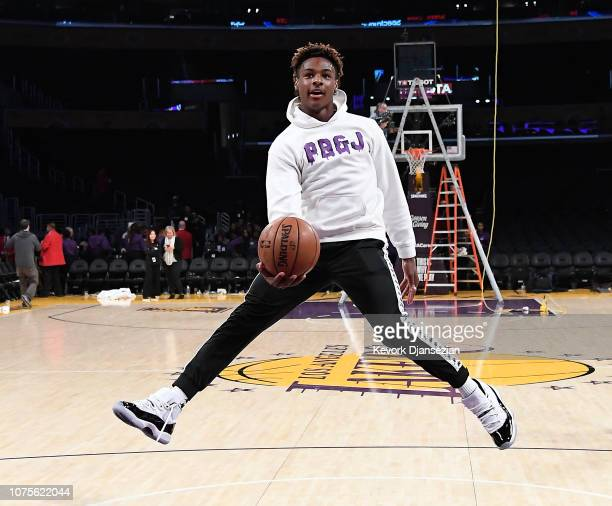 LeBron James Jr son of LeBron James of the Los Angeles Lakers shoots the ball after the Los Angeles Clippers and Los Angeles Lakers basketball game...