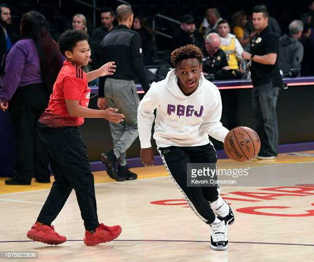 LeBron James Jr son of LeBron James of the Los Angeles Lakers shoots a basket after the Los Angeles Clippers and Los Angeles Lakers basketball game...