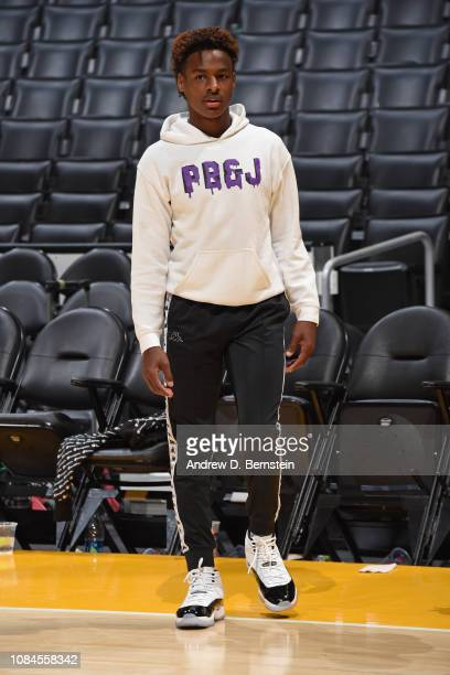 LeBron James Jr stands on the court before the LA Clippers game against the Los Angeles Lakers on December 28 2018 at STAPLES Center in Los Angeles...