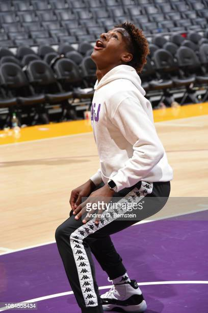 LeBron James Jr waits for a rebound on the court before the LA Clippers game against the Los Angeles Lakers on December 28 2018 at STAPLES Center in...