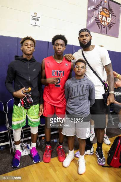 LeBron James Jr Zaire Wade Bryce Maximus James and LeBron James Sr pose together after Zaire Wade's AAU game at the Fab 48 tournament at Bishop...
