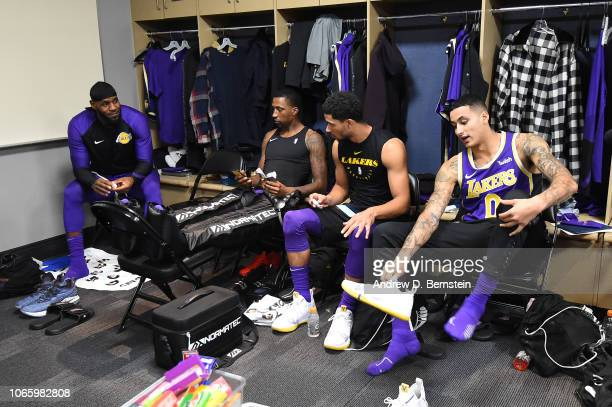 Lebron James Kentavious CaldwellPope Josh Hart and Kyle Kuzma of the Los Angeles Lakers prepare prior to the game against the Denver Nuggets on...
