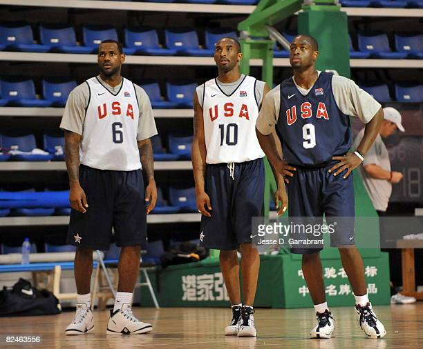 LeBron James, Kobe Bryant and Dwyane Wade of U.S. Men's Senior National Team practices during the 2008 Beijing Summer Olympics on August 19, 2008 at...