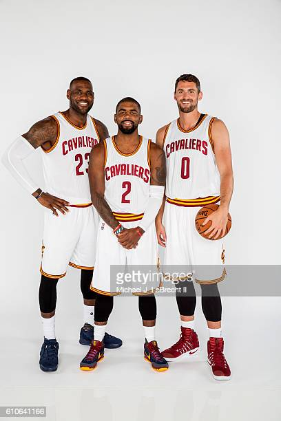 LeBron James Kyrie Irving and Kevin Love of the Cleveland Cavaliers poses for a portrait during 20162017 Cleveland Cavaliers Media Day at the...