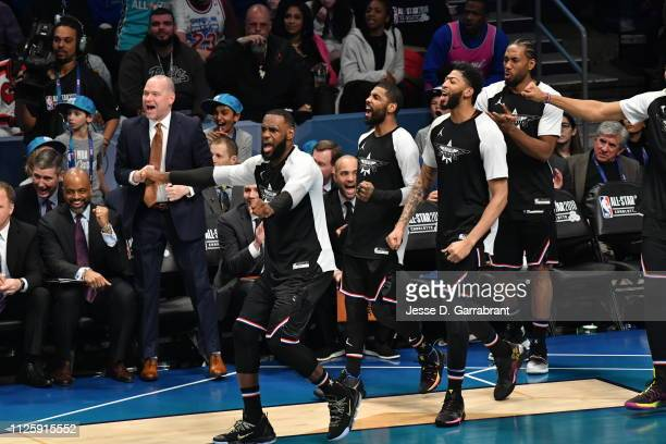 LeBron James Kyrie Irving Anthony Davis and Kawhi Leonard of Team LeBron react against Team Giannis during the 2019 NBA All Star Game on February 17...