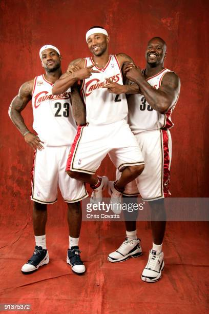 LeBron James Mo Williams and Shaquille O'Neal of the Cleveland Cavaliers pose for a portrait during 2009 NBA Media Day on October 3 2009 at the...