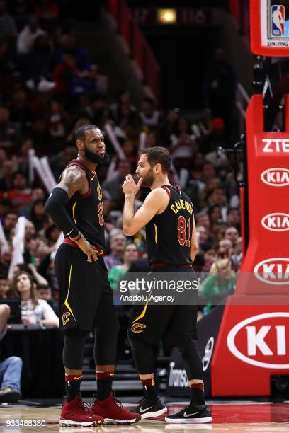 LeBron James of Cleveland Cavaliers gestures during the NBA basketball match between Chicago Bulls and Cleveland Cavaliers at the United Center in...