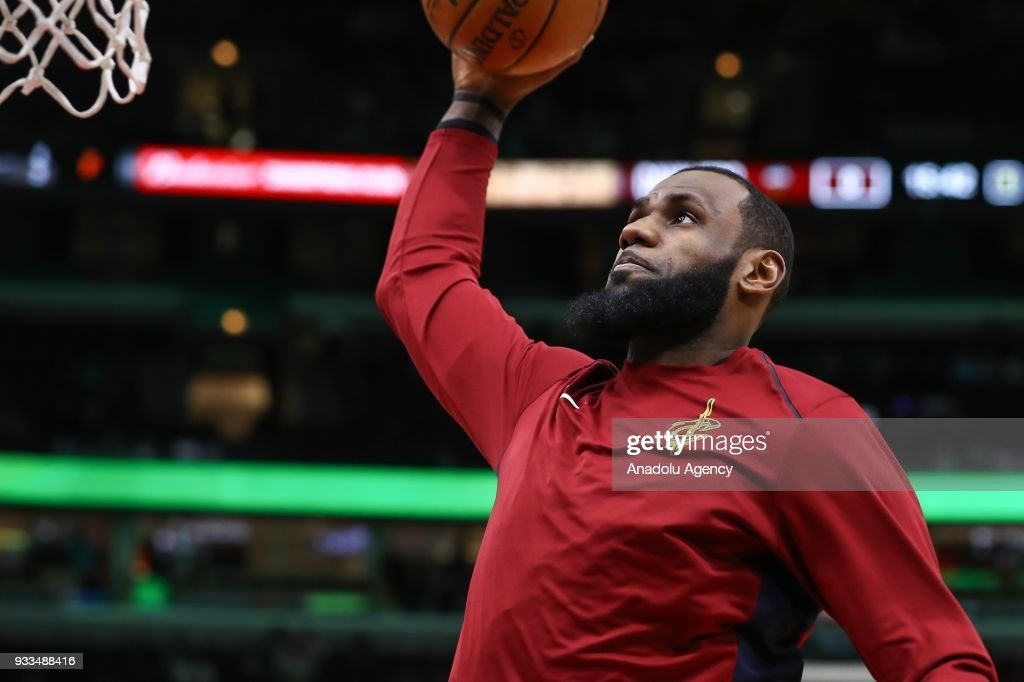 LeBron James (23) of Cleveland Cavaliers gestures during the NBA basketball match between Chicago Bulls and Cleveland Cavaliers at the United Center in Chicago, Illinois, United States on March 18, 2018.