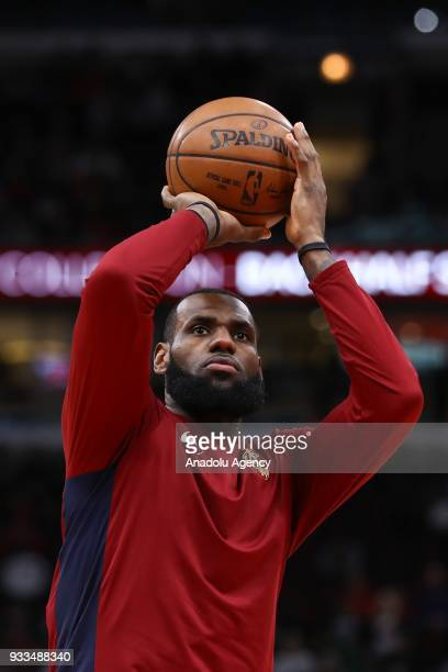 LeBron James of Cleveland Cavaliers in action during the NBA basketball match between Chicago Bulls and Cleveland Cavaliers at the United Center in...