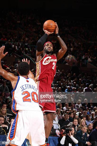 LeBron James of Cleveland Cavaliers shoots against Jared Jeffries of the New York Knicks on November 6, 2009 at Madison Square Garden in New York...