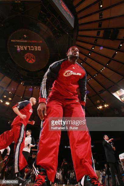 LeBron James of Cleveland Cavaliers stretches before the game against the New York Knicks on November 6, 2009 at Madison Square Garden in New York...