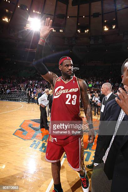 LeBron James of Cleveland Cavaliers the acknowledges the crowd at the end of the game against the New York Knicks on November 6, 2009 at Madison...