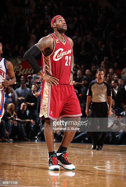 LeBron James of Cleveland Cavaliers the shows emotion during game against the New York Knicks on November 6, 2009 at Madison Square Garden in New...