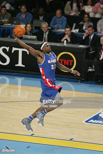 LeBron James of Eastern Conference All-Stars shoots against the Western Conference All-Stars in the 54th All-Star Game, part of 2005 NBA All-Star...