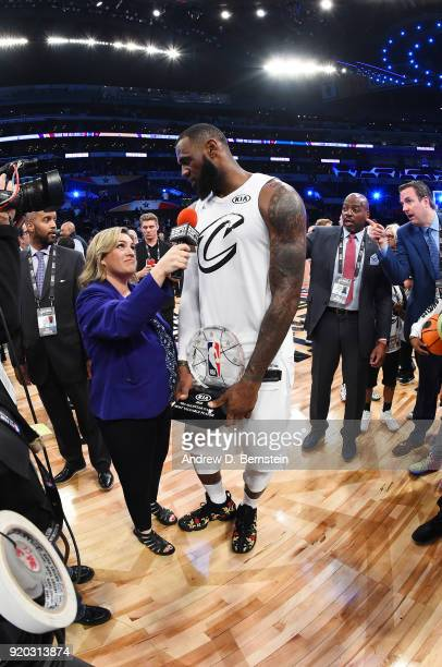 LeBron James of Of Team LeBron talks with the media after winning the MVP award during the NBA AllStar Game as a part of 2018 NBA AllStar Weekend at...