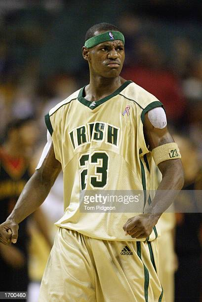 LeBron James of St VincentSt Mary High School clenches his fists after making a shot against Oak Hill Academy at the Cleveland State University...