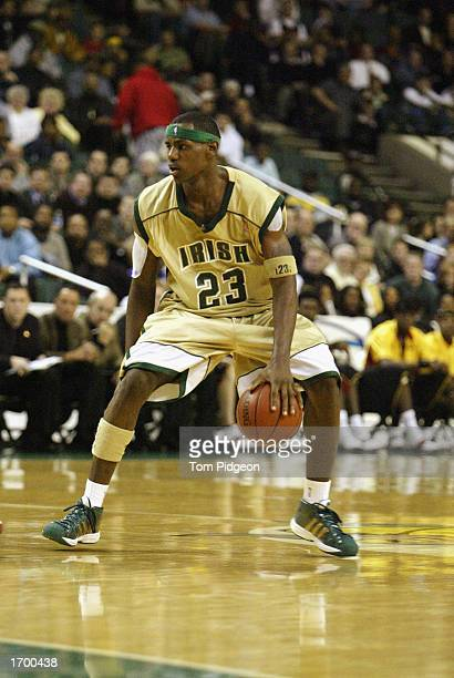 LeBron James of St VincentSt Mary High School dribbles the ball against Oak Hill Academy at the Cleveland State University Convocation Center on...