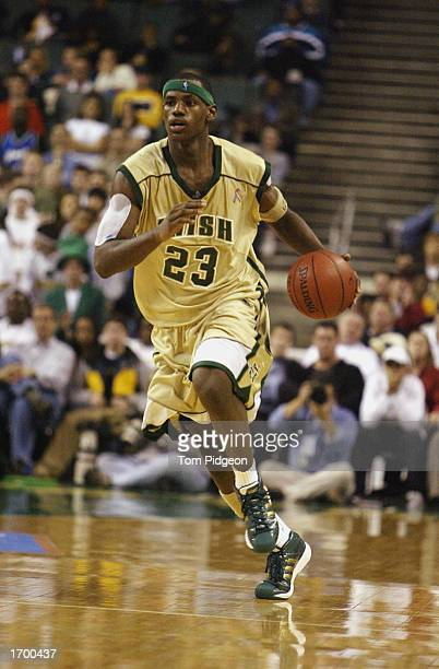 LeBron James of St VincentSt Mary High School dribbles the ball up the floor against Oak Hill Academy at the Cleveland State University Convocation...